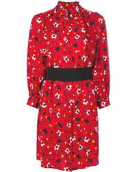 Vestito chemisier di seta stampato rosso di Marc Jacobs