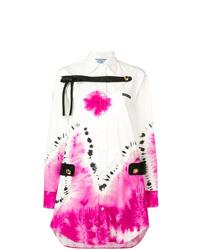 Vestito chemisier effetto tie-dye bianco di Prada