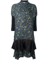 Vestito chemisier geometrico verde oliva di Kolor
