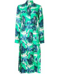 Vestito chemisier stampato verde di Gucci