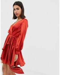 Vestito da cocktail di raso rosso di ASOS DESIGN