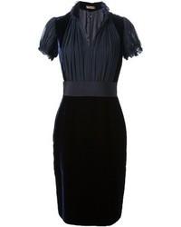 Vestito da cocktail di velluto blu scuro di Alexander McQueen