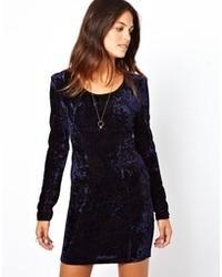 Vestito da cocktail di velluto blu scuro di Lucca Couture