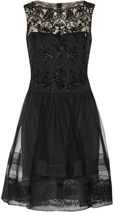 Vestito da cocktail in tulle nero di Notte by Marchesa
