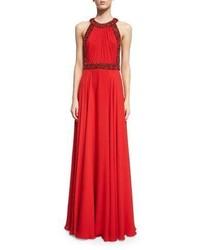 Vestito da sera decorato rosso