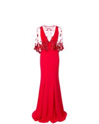 Vestito da sera decorato rosso di Marchesa Notte
