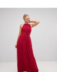 Vestito da sera di pizzo decorato rosso di Little Mistress Tall