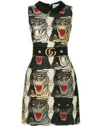 Vestito di lana stampato nero di Gucci