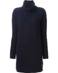 Vestito di maglia lavorato a maglia blu scuro