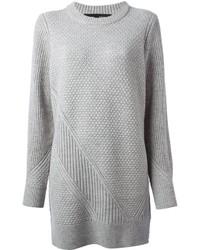 Vestito di maglia lavorato a maglia grigio
