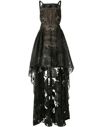 Vestito di pizzo geometrico nero di Marchesa