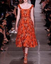 Vestito longuette a fiori arancione