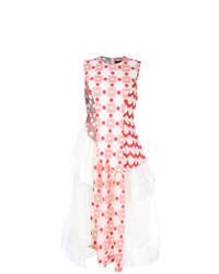 Vestito longuette a fiori bianco e rosso