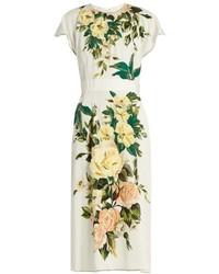 Vestito longuette a fiori bianco