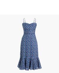 Vestito longuette a fiori blu