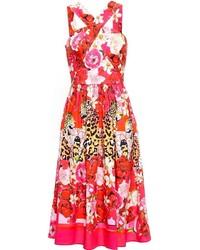 Vestito longuette a fiori rosso