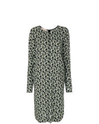 Vestito longuette a fiori verde oliva