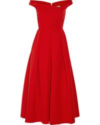 Vestito longuette a pieghe rosso
