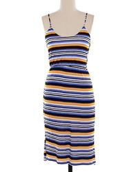 Vestito longuette a righe orizzontali multicolore