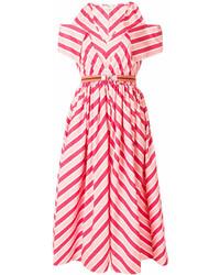 Vestito longuette a righe orizzontali rosa di Fendi
