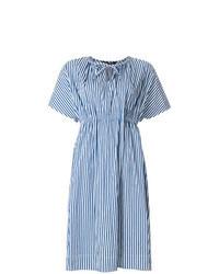 Vestito longuette a righe verticali blu