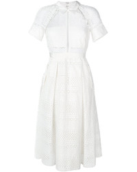 Vestito longuette all'uncinetto bianco