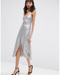 Vestito longuette con paillettes argento di Asos