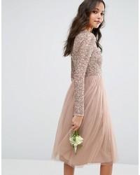 53176ce61261f ... Vestito longuette con paillettes rosa di Maya