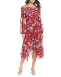 Vestito longuette di chiffon a fiori rosso