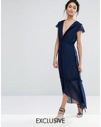Vestito longuette di chiffon blu scuro
