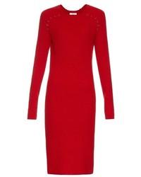 Vestito longuette di lana lavorato a maglia rosso