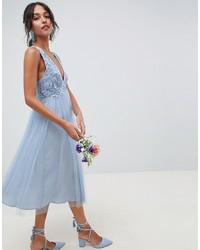 fbf38465ca5d Vestito longuette di pizzo azzurro di ASOS DESIGN