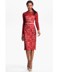 Vestito longuette di pizzo rosso