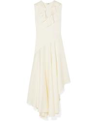 Vestito longuette di raso con volant beige di Fendi