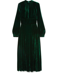 Vestito longuette di seta a pieghe verde scuro di Raquel Diniz