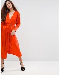 Vestito longuette di seta arancione