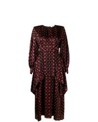 Vestito longuette di seta stampato bordeaux di Fendi