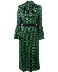 Vestito longuette geometrico verde di Fendi