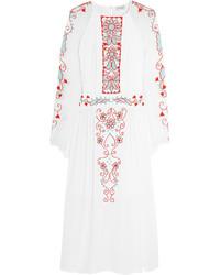 Vestito longuette ricamato bianco