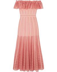 Vestito longuette ricamato rosa di Alexander McQueen