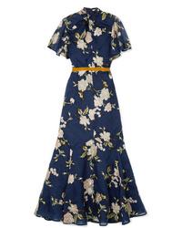 Vestito lungo a fiori blu scuro di Erdem
