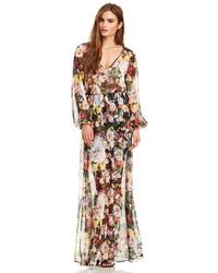 Vestito lungo a fiori multicolore
