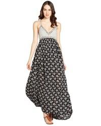 Vestito lungo a fiori nero e bianco