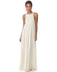 Vestito lungo a pieghe bianco