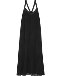 Vestito lungo a pieghe nero