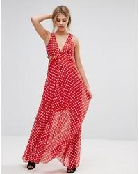 new concept bc6fa e9a43 Vestiti lunghi a pois rossi da donna   Moda donna   Lookastic