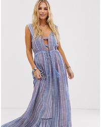 info for 41eaa 0d397 Vestiti lunghi a righe verticali azzurri da donna | Moda ...