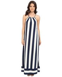 Vestito lungo a righe verticali bianco e nero