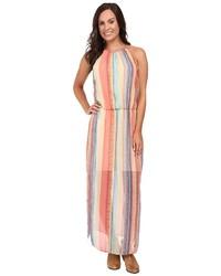 Vestito lungo a righe verticali multicolore