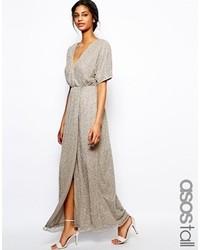 Vestito lungo con paillettes argento di Asos